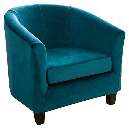 Sesselbezug Sesselschoner, Sofahusse Stretch Sesselüberwurf Sesselhussen Elastisch Sofahusse mit 1 Kissenbezug für Clubsessel Chesterfield Sessel - Smaragdgrün