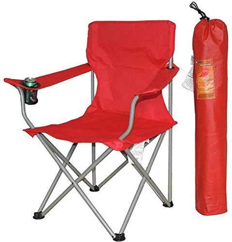 Mopoq El sostenedor plegable portátil Silla Con Apoyabrazos Copa, plegable silla de camping, al aire libre Butaca Con Highback bolsa de transporte, de viajes Playa de picnic Negro 54x44x92cm (21x17x36