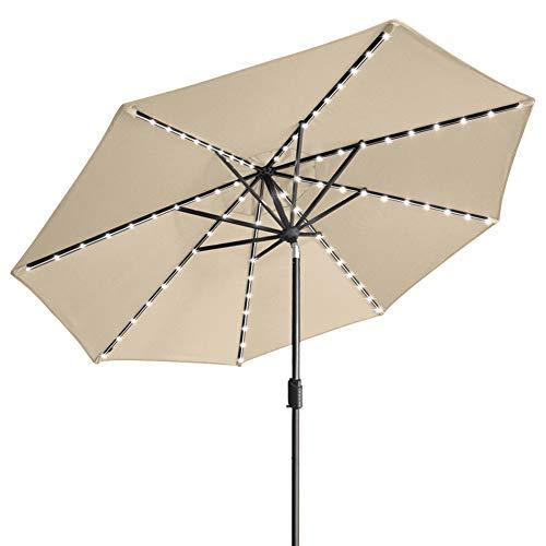 EliteShade Sunbrella Solar Umbrellas 9ft Market Umbrella with 80 LED Lights Patio Umbrellas Outdoor Table Umbrella with Ventilation and 5 Years Non-Fading Top,Antique Beige