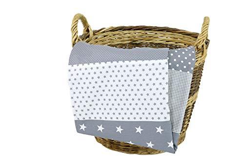 Colcha para bebé de ULLENBOOM ® con estrellas grises (manta de arrullo para bebé de 70x100 cm, ideal colcha para el cochecito; apta alfombra de juegos)
