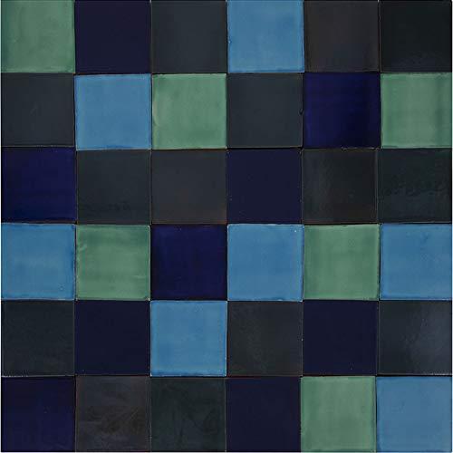 Cerames Malaquita - Patchwork de azulejos monocromáticos - 90 unidades, 1 m2| Azulejos de cerámica mexicanos para cocina y baño
