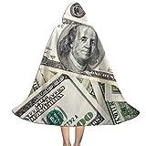 QBahoe Kids Cape Cloak with Hood New 100 Dollar Bill Unisex Full Length Hooded Robe Cloak Long Cape Cosplay Costume
