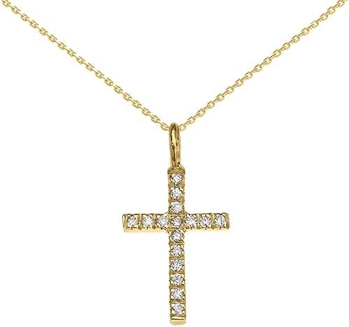 Religious Jewelry by FDJ 10k Yellow Gold Diamond Cross Dainty Charm Pendant Necklace