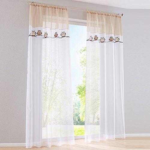 Yujiao Mao Stickerei Eule Druck Voile Vorhange Kinderzimmer Gardine Schal mit Kräuselband 1 Stück BxH 140x175cm Sand