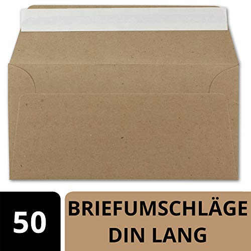 50x Kraftpapier Umschläge DIN Lang - Braun ÖKO - Haftklebung selbstklebend 11 x 22 cm - 120 g/m² Briefumschläge ohne Fenster aus Recycling Papier - von NEUSER PAPIER