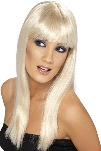 Smiffy's Smiffys- Años 80 Peluca Glamourama, Rubia, Larga, Recta con Flequillo, Color, Tamaño único 42154