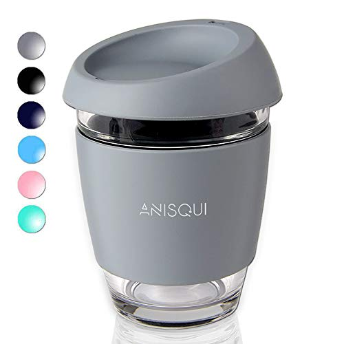 AniSqui Taza de café de Cristal Reutilizable (350ml, sin BPA, Tapa de Silicona ecológica) by (Gris)