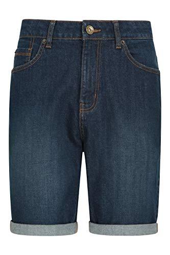 Mountain Warehouse Pantalones Cortos Vaqueros para Hombre - 100% de algodón, Pantalones Ligeros, Transpirables, con Bolsillos prácticos - Ideal para Deportes, acampadas Azul Oscuro 52W