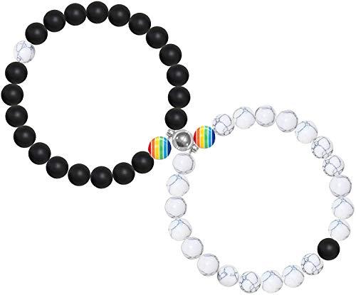 VELESAY 1 Paar Magnetisch LGBT Armbänder für Damen Herren Regenbogen Armband Homosexuell & Lesben Pride Armband Gay & Lesbian Armband Homosexual Homosexuell lesbisches Lesbe Armbänder LGBTQ