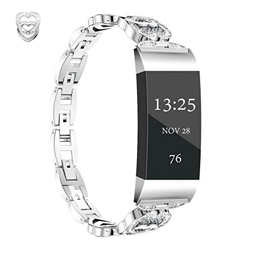 JOMOQ Compatible Band Strap for Fitbit Charge 3 SE & Charge 4 Women Men Steel Replacement Wristbands Adjustable Metal Bracelet Band With Rhinestone for Charge 3/3 SE & Fitbit Charge 4 (Heart-Silver)
