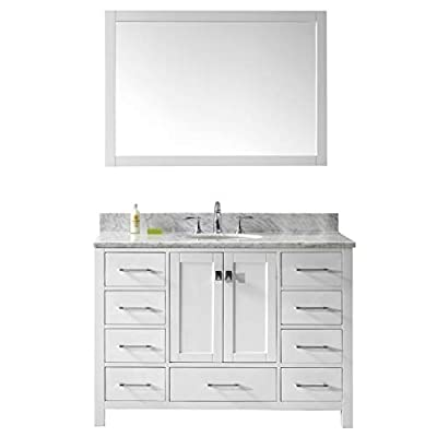Virtu USA Caroline Avenue 48 inch Single Sink Bathroom Vanity Set in White w/Square Undermount Sink, Italian Carrara White Marble Countertop, No Faucet, 1 Mirror - GS-50048-WMSQ-WH