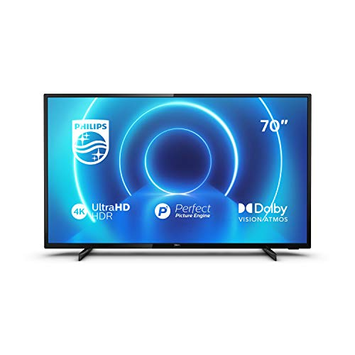 "Philips 70PUS7505/12 - TV da 70"" (177 cm), Smart TV, Processore P5 Perfect Picture Engine, HDR 10+ Dolby Vision, Dolby Atmos, Sintonizzatore satellitare, colore: argento"