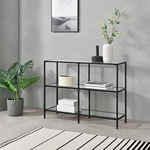 [en.casa] Konsolentisch Perstorp 100x30x73cm Flurtisch Sideboard Beistelltisch Tisch Stahlgestell Gehärtetes Glas Schwarz