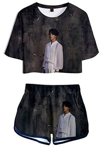 Silver Basic Conjunto de Pantalón Corto y Top BTS Chándal para Niñas Inspirado en...