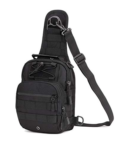 Yakmoo Mochila de Asalto Impermeable Estilo Militar Táctico de Nylon Bolsa de Bandolera Bolso Cruzado Bolsa de Mano al Aire Libre Negro