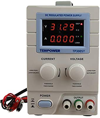 Tekpower TP3005T Variable Linear DC Power Supply, 0-30V @ 0-5A with Alligator Test Leads