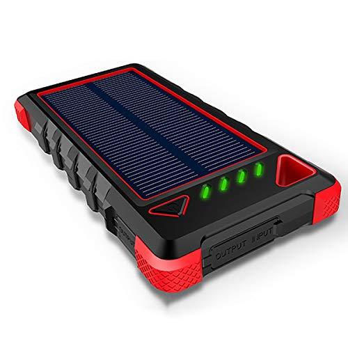 Chargeur Solaire Portable, 13500Mah Ultra-compacts Batteries externes avec Ports USB Double, Solar Power Bank avec Lampe de Poche pour Le Camping,Rouge