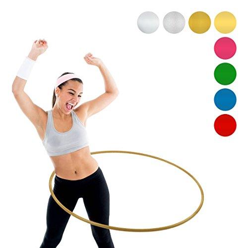 NiroSport Hula Hoop Fitnessreifen für Kinder und Erwachsene, bruchsicheres Aluminium, 90 cm Durchmesser, 360 Gewicht (Gold)