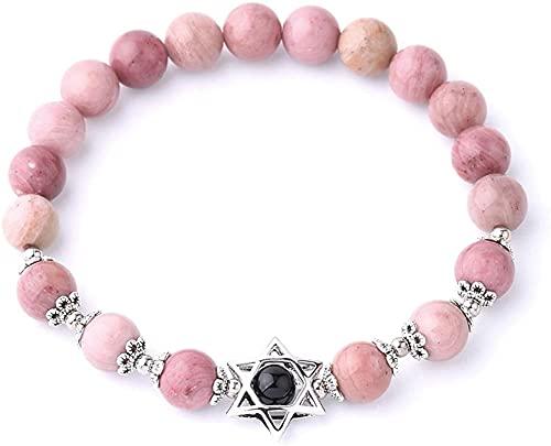HYJMJJ Pulsera Feng Shui Bead Hexagrama de Piedra Natural encantos Pulseras Estrella de David 8mm Pulsera de Cuentas de Gema para Mujeres Hombres Pulsera de Abalorios de Amuleto (Size : Rhodonite)