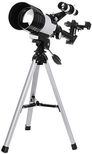 Meyeye Telescopio Refractor 150x70mm Telescopio astronómico con el trípode Pne Adaptador Altura máxima 38cm Viaje Alcance Elescope (Color: Blanco, Tamaño: 48x35cm)
