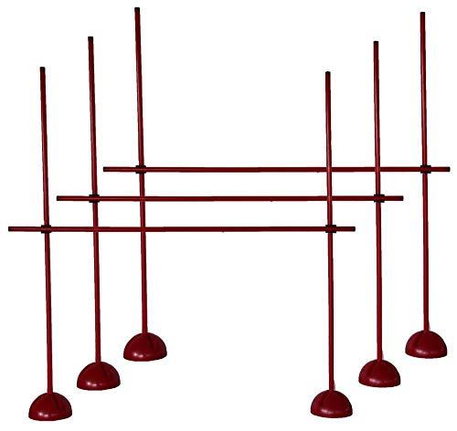 3er Sprungstangen-Set für effektives und vielseitiges Training - Sprungkraft, Dribbling und Beweglichkeit - Standfüße sind mit Sand befüllbar - (9 Stangen, 6 X-Standfüße, 6 Clips), Rot, One size - 3X XS160rc