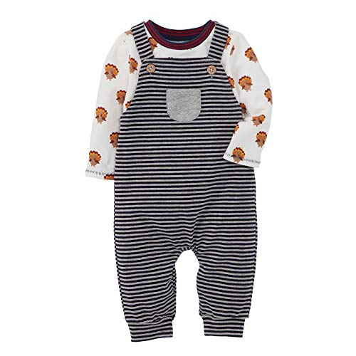 Mud Pie Baby Boys' Thanksgiving Overall Shirt Set, Gray, 12-18 Months