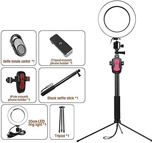 6-in-1 Selfie-ringlicht met statief en telefoonhouder LED-cirkelverlichting Halo-verlichting voor make-up Live stomen Fotofotografie Vloggen Video