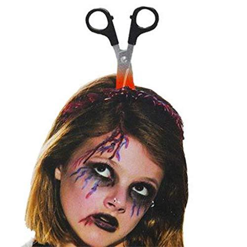 WYXMJ Usar un cuchillo Horror Persona completa Plástico Sangrado Cabeza Sierra Hacha Aguja Tubo Maquillaje Halloween Horror Accesorios (estilos más) (Color : B*4)
