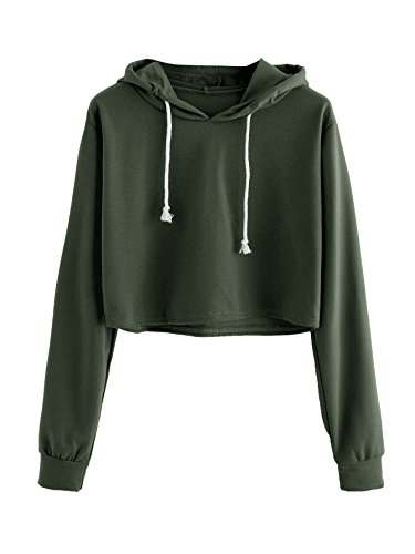 MAKEMECHIC Women's Casual Long Sleeve Pullover Hoodies Crop Tops Sweatshirt A Green M