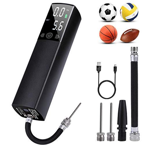 Deeplee Elektrische Ballpumpe Automatische Ballpumpe, Tragbare Handpumpe mit Luftschlauch, 1 Nozzle für Aufblasbare Schwimmring, 2 Nadeln für Basketball, Fußball, Volleyball, Rugby