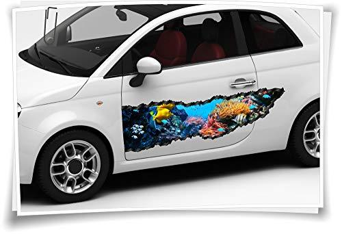 Autosticker, zijstrook, vissen, aquarium, zee, koraal, airbrushfolie, tuning, auto-wrapping, luchtkanaalfolie, digitaal bedrukt