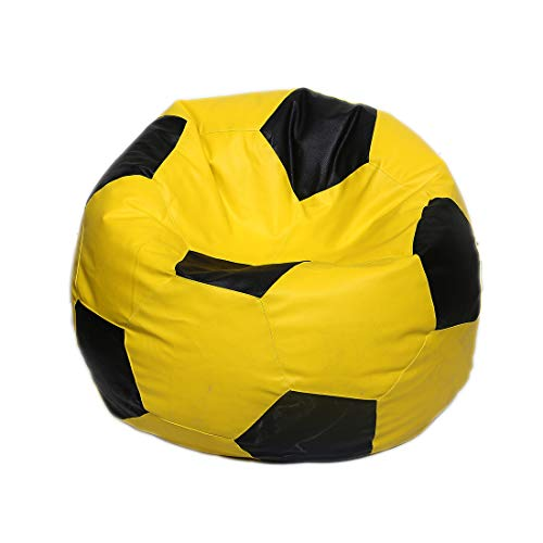 Maruti Fun Bags Leather Football Shape Bean Bag Cover Without Beans (Yellow and Black, XXL)