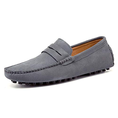 Go Tour Men's Penny Loafers Moccasin Driving Shoes Slip On Flats Boat Shoes Grey 49