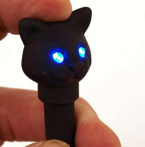 Kikkerland Kugelschreiber Katze mit Led Licht und Sound, schwarz