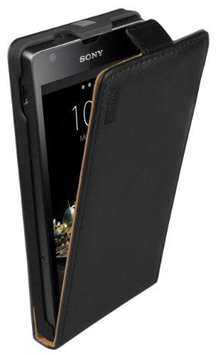 mumbi PREMIUM Custodia in vera pelle compatibile con Sony Xperia SP, nero