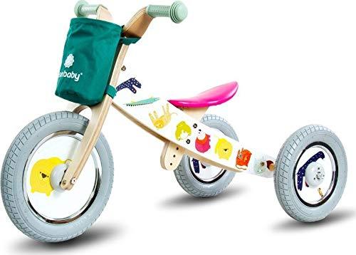 Driewieler kindervoertuig kinderwagen fiets hout kinderfiets loopfiets TOP! zwart