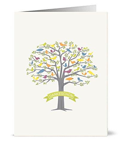 20 Recycelte Danksagungskarten - 20 faltbare Danksagungskarten mit passenden grünen Recyclinghüllen