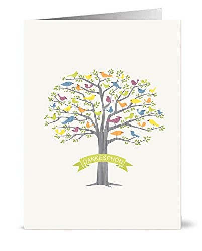 40 Recycelte Danksagungskarten - 40 faltbare Danksagungskarten mit passenden grünen Recyclinghüllen