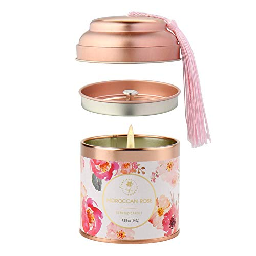 Scented Candles Moroccan Rose Aromatherapy Candles for Home Scented 5 Oz Natural Jar Stress Relief Candles Gift for Women Home Decoration Meditation Spa Yoga Birthday Bath Office