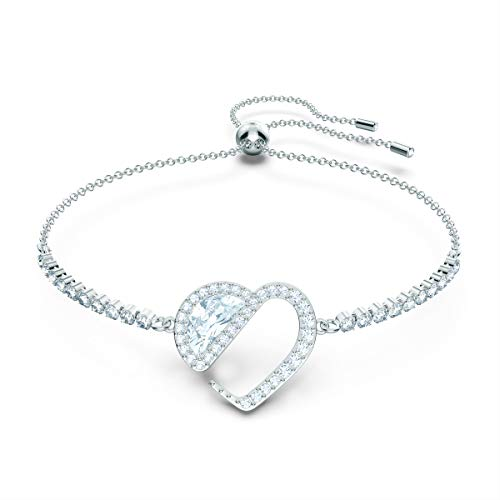 Swarovski Pulsera Hear Heart, Blanco, Baño de Rodio, Amazon Exclusivos