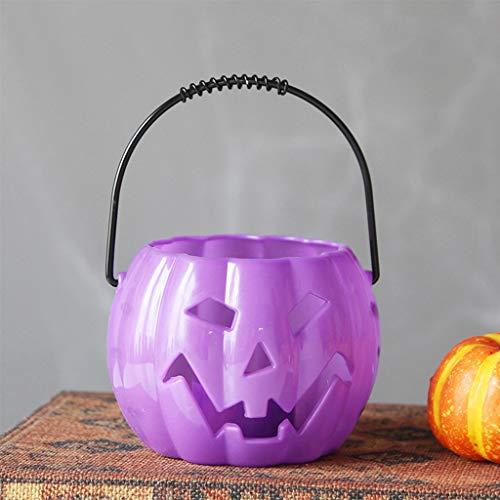 Linterna de calabaza, decoración del partido - la cesta de dulces de Halloween, naranja calabaza de Halloween dulces de cubo de 5,5 pulgadas (Color : Black)