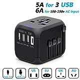 POWERGIANT Adaptador de Viaje Universal, Adaptador Enchufe con 3 Puertos USB y 1 x Cargador Tipo-C para US EU AU de 150 Países