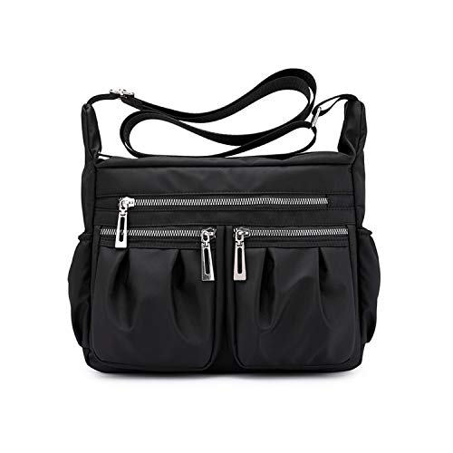 NOTAG Nylon Crossbody purse for Women Medium Messenger Bags Travel Shoulder Purses and Handbags (Black)