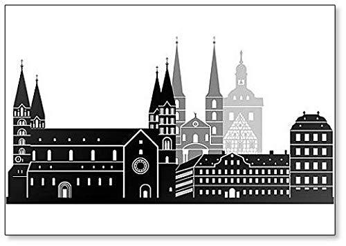 Bamberg Skyline Graustufen Kühlschrankmagnet