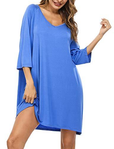 Doaraha Camisones de Algodón Modal para Mujer Vestido Camisón Super Suave Pijama Ropa de Dormir Talla Grande Verano Camisa de Dormir Cuello en V Manga 3/4 Loungewear (Lago Azul, 2XL)