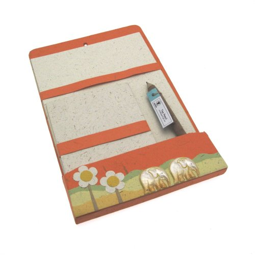 Eco Maximus Briefpapier-Set aus Elefantendung, 180x280mm, Orange