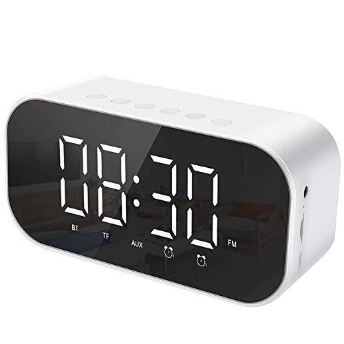 Andifany Reloj Despertador Digital con Altavoz, Radio Despertador Reloj de Cabecera con Doble Alarma con RepeticióN, Radio FM (Blanco)