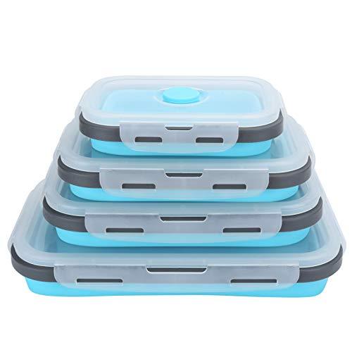 Fiambrera - 4Pcs/Set Fiambrera de silicona Contenedor de almacenamiento de alimentos plegable Bento Box para viajes al aire libre