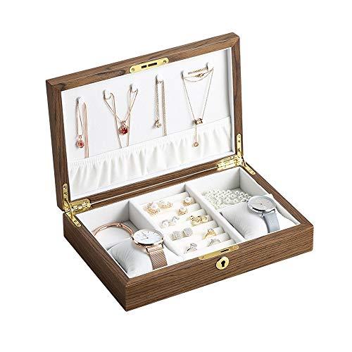 Caja de joyería para mujer, caja de joyería portátil de madera con cerradura para anillos, pendientes, collares, pulseras, niñas, regalo de cumpleaños, día de San Valentín, Año Nuevo (color de nogal)