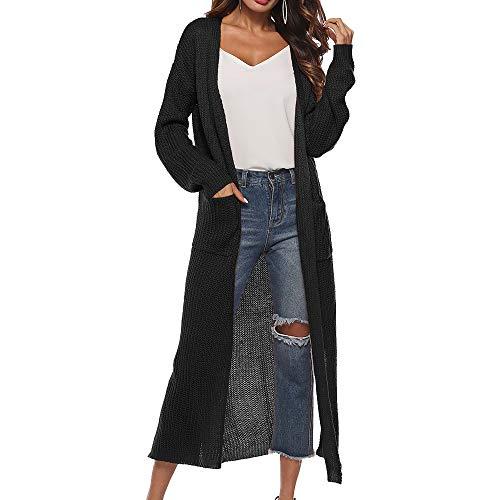 Vertvie Damen Mantel Langarm Open Front Cardigan Strickjacke Asymmetrisch Schnitt Strickmantel Langshirt mit Taschen (XL, Schwarz)